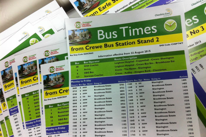 Timetables for buses in Cheshire East
