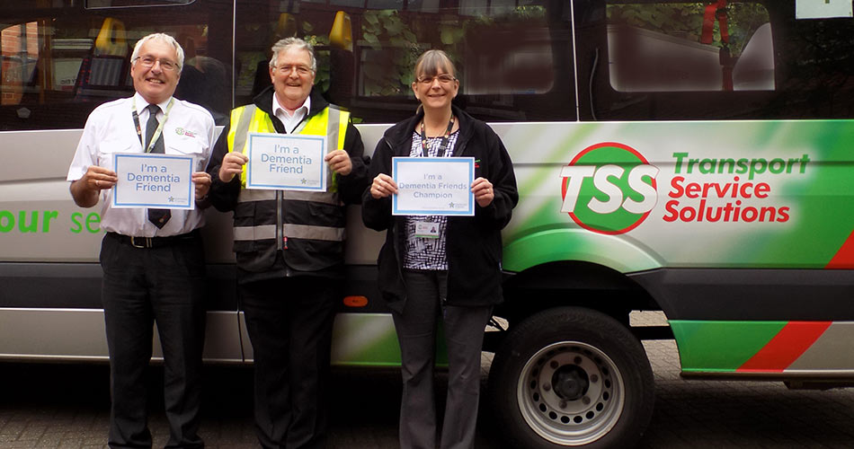 Dementia Champion Pat Hughes with Fleet Manager Ian Mottershead and driver Terry Dibbins