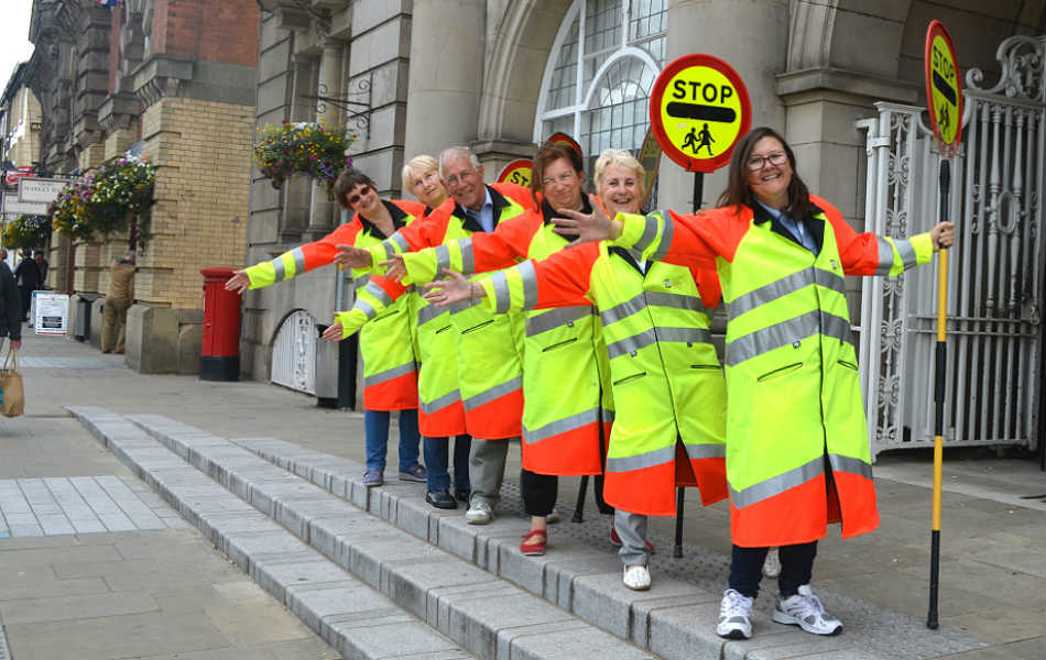 School crossing patrol wardens outside Municipal Buildings in Crewe